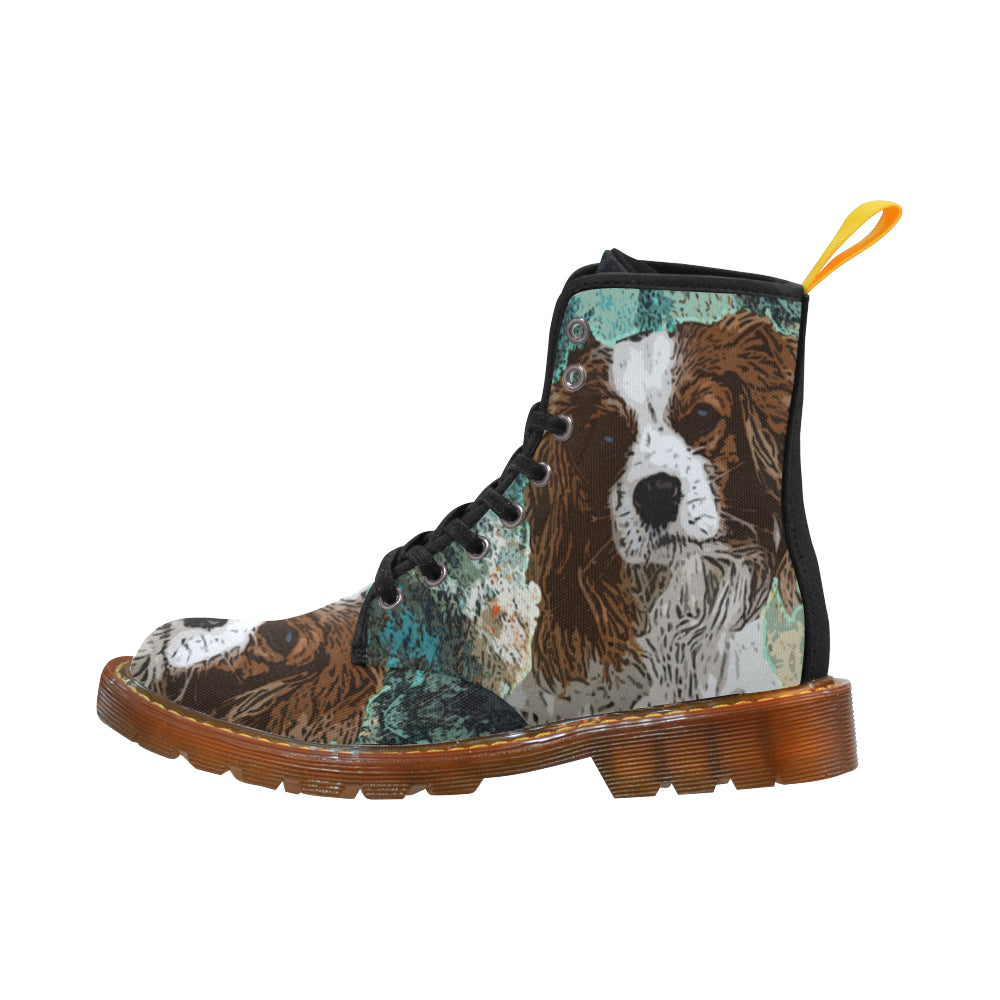 Cavalier King Charles Spaniel Black Boots For Men - TeeAmazing