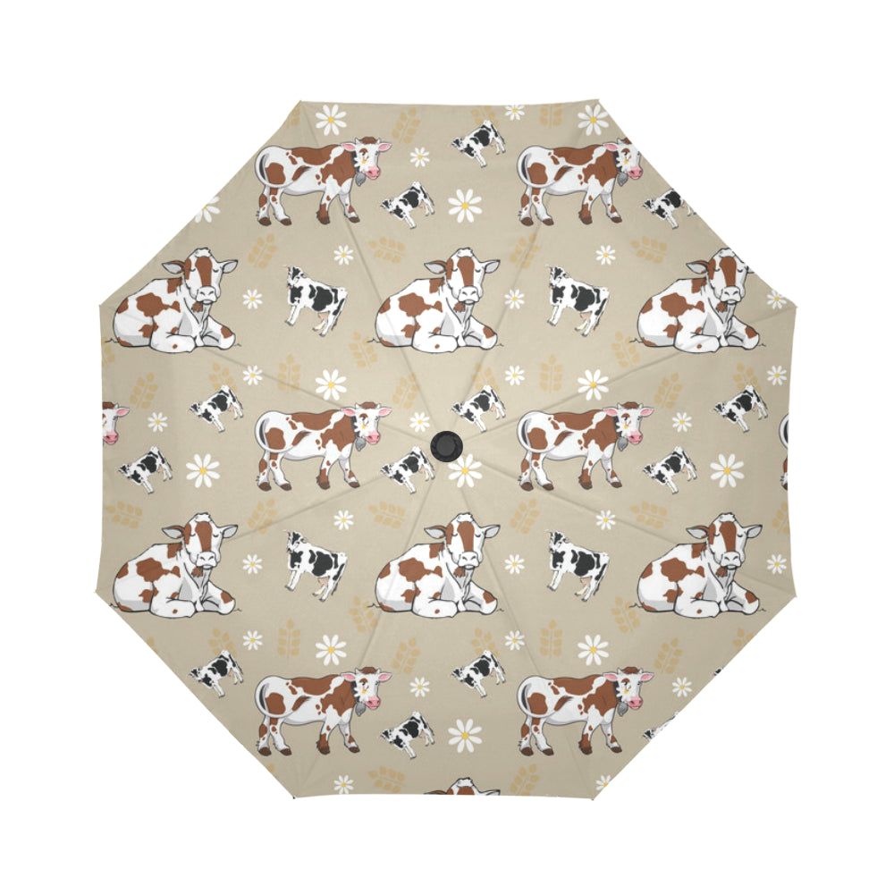 Cow Pattern Auto-Foldable Umbrella - TeeAmazing
