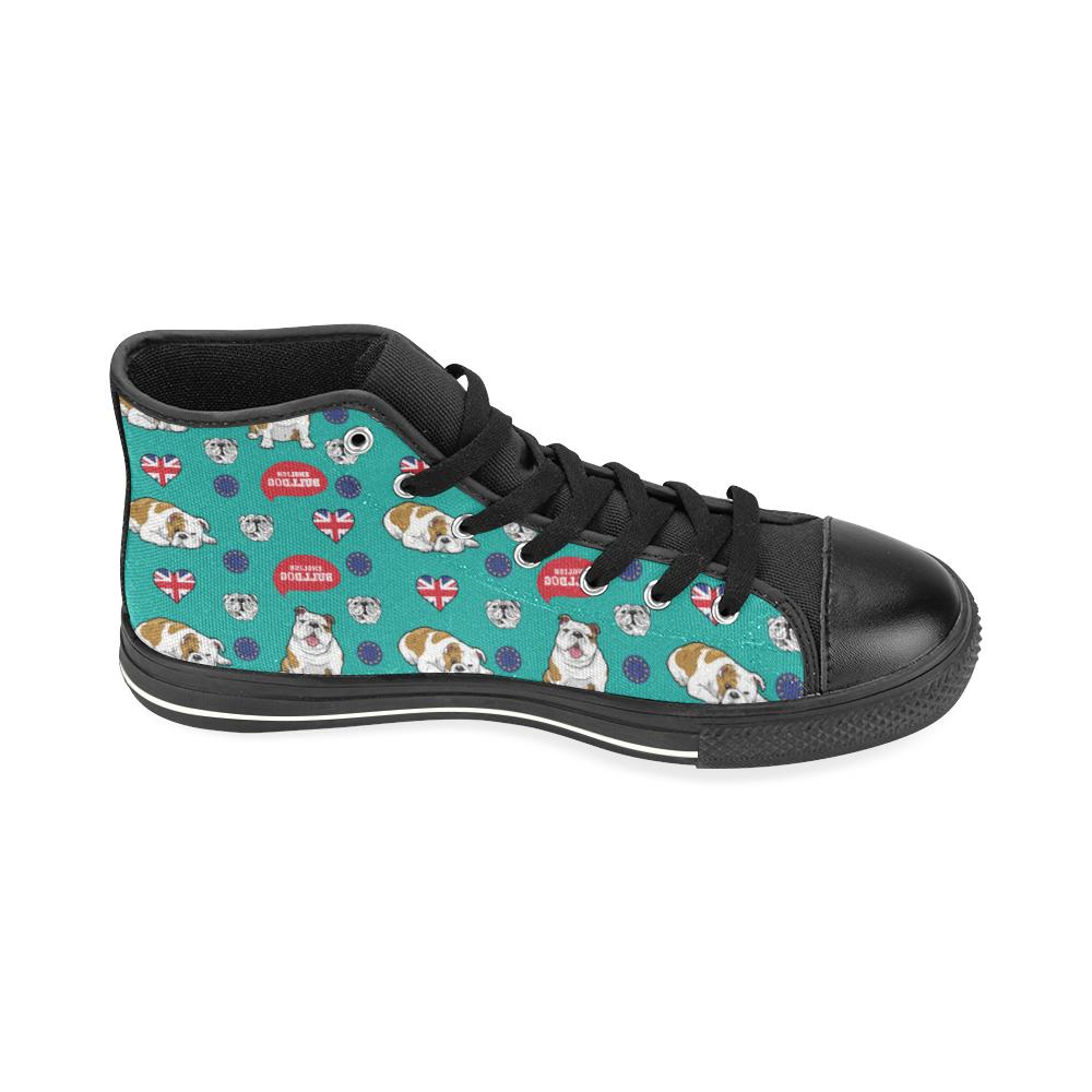 English Bulldog Black High Top Canvas Women's Shoes (Large Size) - TeeAmazing