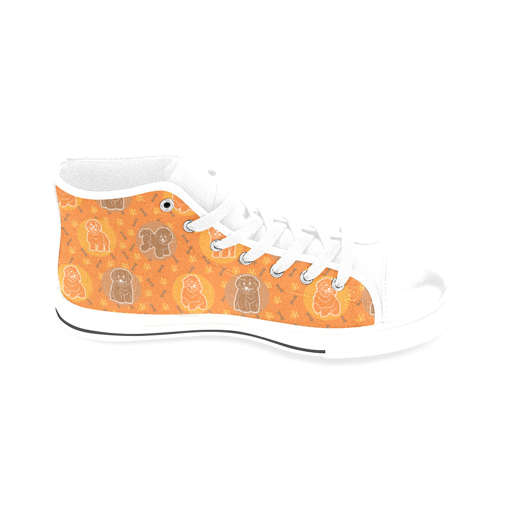 Bichon Frise Pattern White Men's Classic High Top Canvas Shoes /Large Size - TeeAmazing