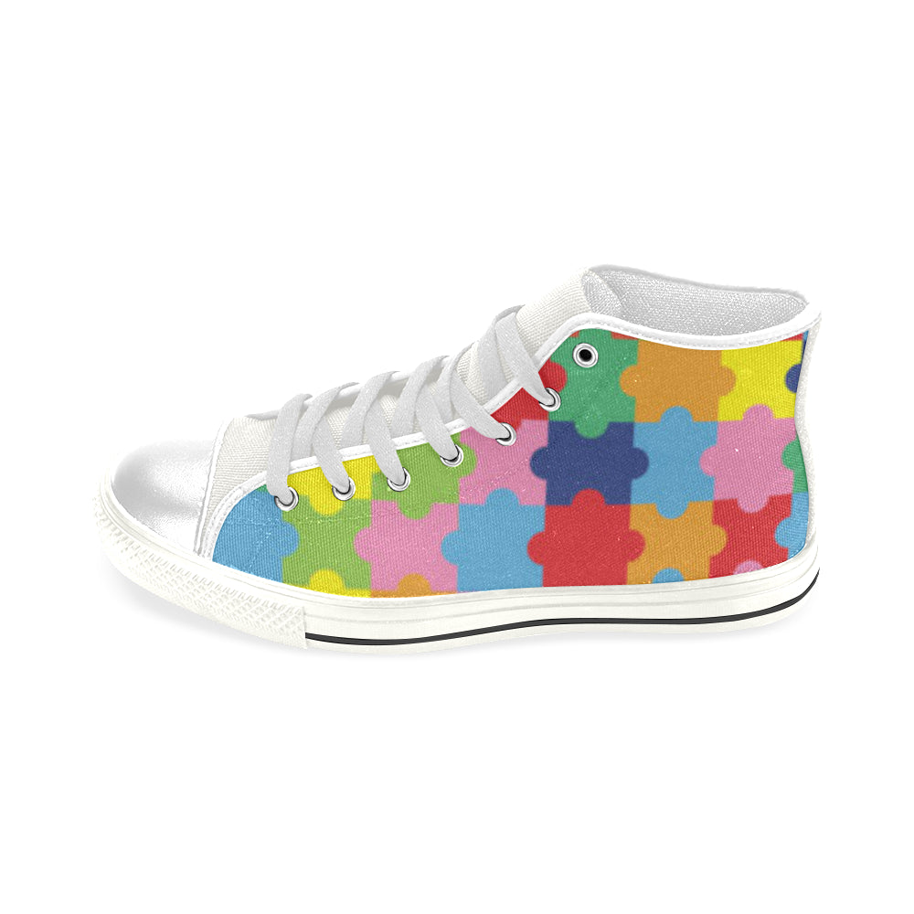 Autism White Men's Classic High Top Canvas Shoes - TeeAmazing