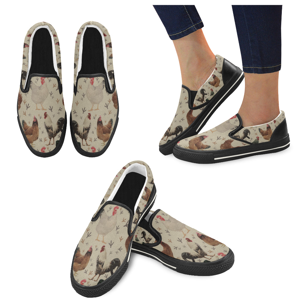 Chicken Black Women's Slip-on Canvas Shoes/Large Size (Model 019) - TeeAmazing
