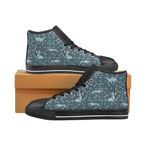 Saluki Black High Top Canvas Women's Shoes/Large Size - TeeAmazing