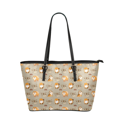 Pomeranian Pattern Leather Tote Bag/Small (Model 1651) - TeeAmazing