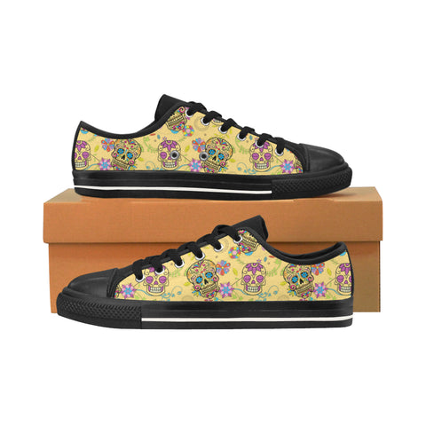 Sugar Skull Black Men's Classic Canvas Shoes/Large Size (Model 018) - TeeAmazing