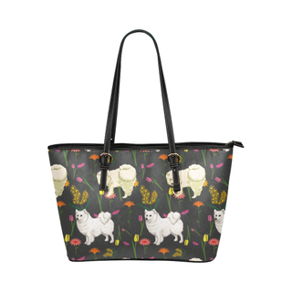 American Eskimo Dog Flower Leather Tote Bag/Small (Model 1651) - TeeAmazing