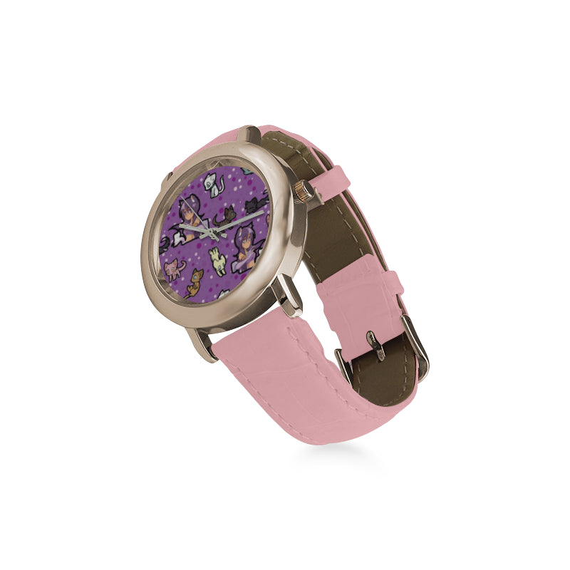 Aphmau Women's Rose Gold Leather Strap Watch - TeeAmazing