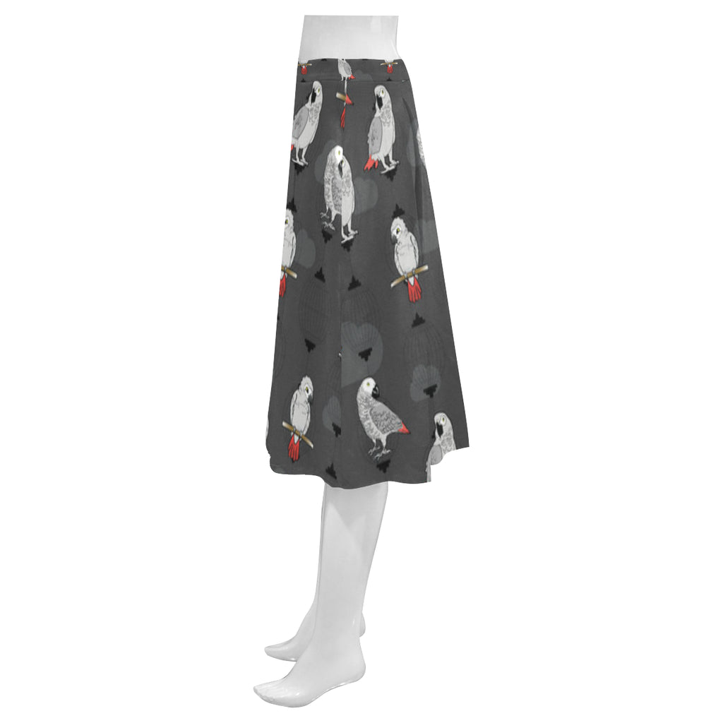 African Greys Mnemosyne Women's Crepe Skirt (Model D16) - TeeAmazing