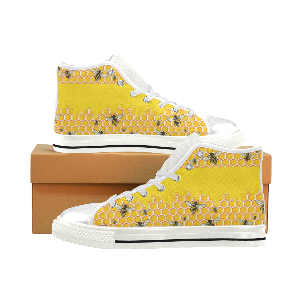 Bee Pattern White High Top Canvas Shoes for Kid - TeeAmazing