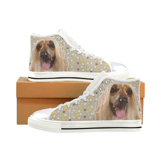 Afghan Hound White High Top Canvas Shoes for Kid - TeeAmazing