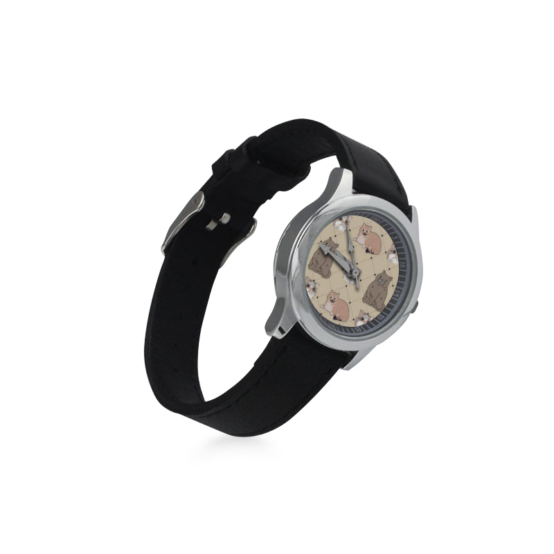 Exotic Shorthair Kid's Stainless Steel Leather Strap Watch(Model 208) - TeeAmazing