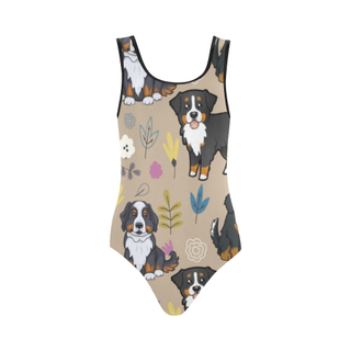 Bernese Mountain Flower Vest One Piece Swimsuit (Model S04) - TeeAmazing