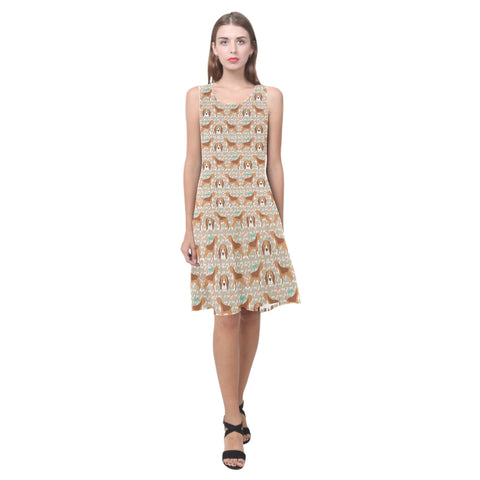 Beagle Pattern Sleeveless Splicing Shift Dress(Model D17) - TeeAmazing