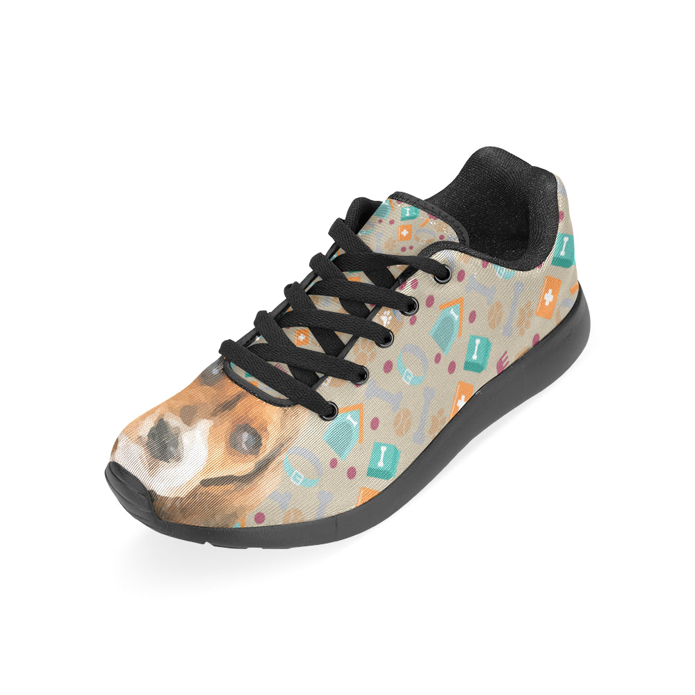 Basset Hound Black Sneakers for Men - TeeAmazing