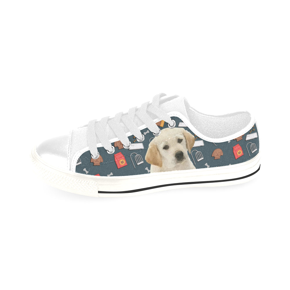 Goldador Dog White Men's Classic Canvas Shoes/Large Size - TeeAmazing