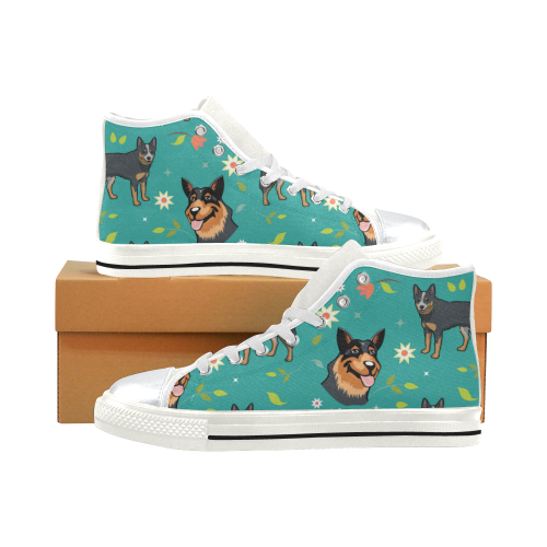Australian Cattle Dog Flower White High Top Canvas Shoes for Kid (Model 017) - TeeAmazing