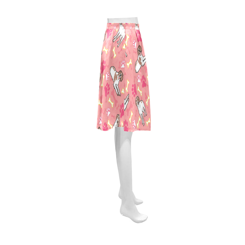 Brittany Spaniel Pattern Athena Women's Short Skirt (Model D15) - TeeAmazing