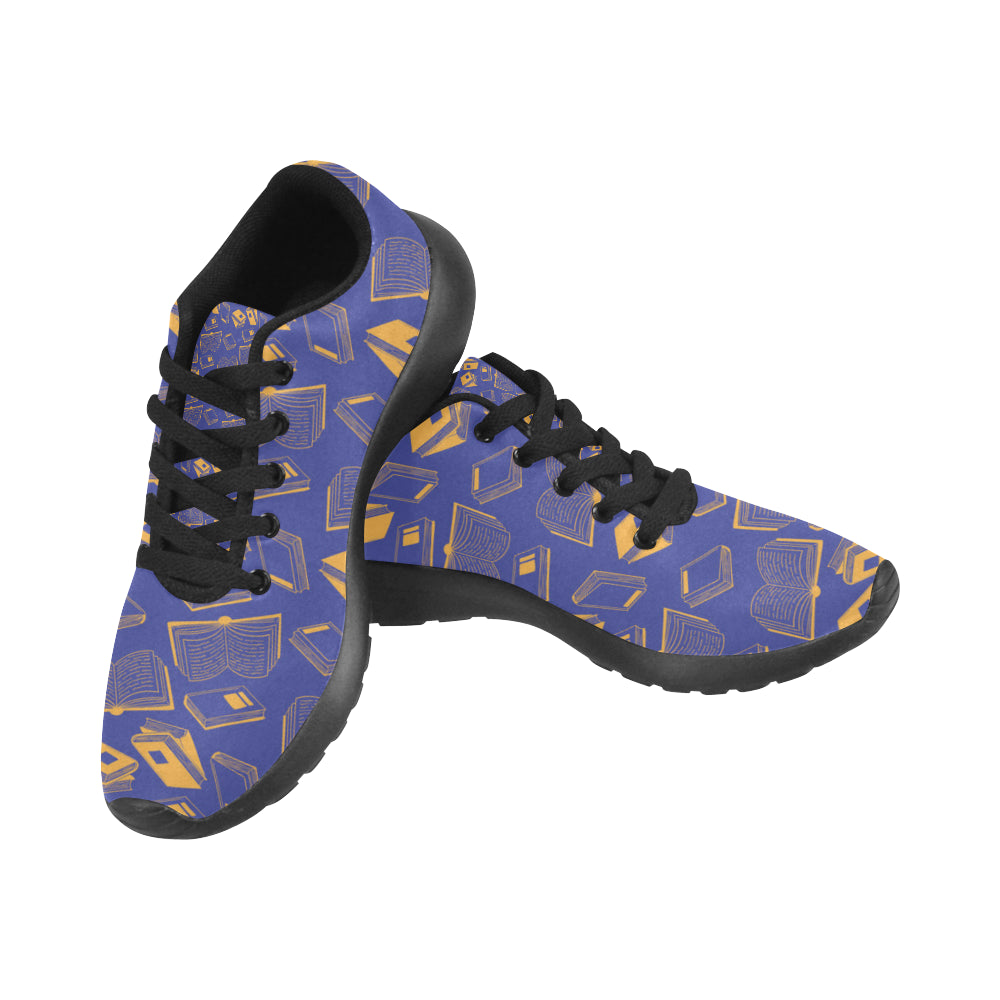Book Pattern Black Sneakers for Men - TeeAmazing