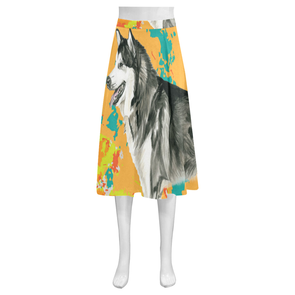 Alaskan Malamute Water Colour No.2 Mnemosyne Women's Crepe Skirt (Model D16) - TeeAmazing