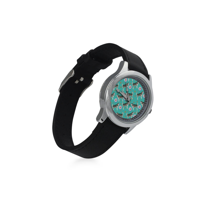 Alaskan Malamute Water Colour Pattern No.1 Kid's Stainless Steel Leather Strap Watch - TeeAmazing