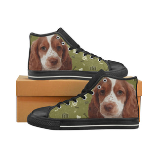 Sprocker Dog Black Women's Classic High Top Canvas Shoes (Model 017) - TeeAmazing