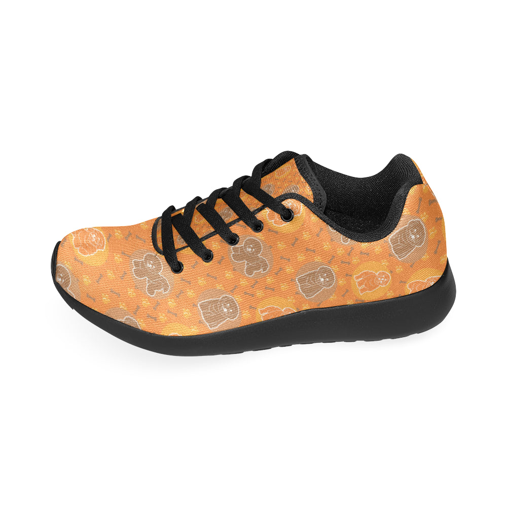 Bichon Frise Pattern Black Sneakers for Women - TeeAmazing