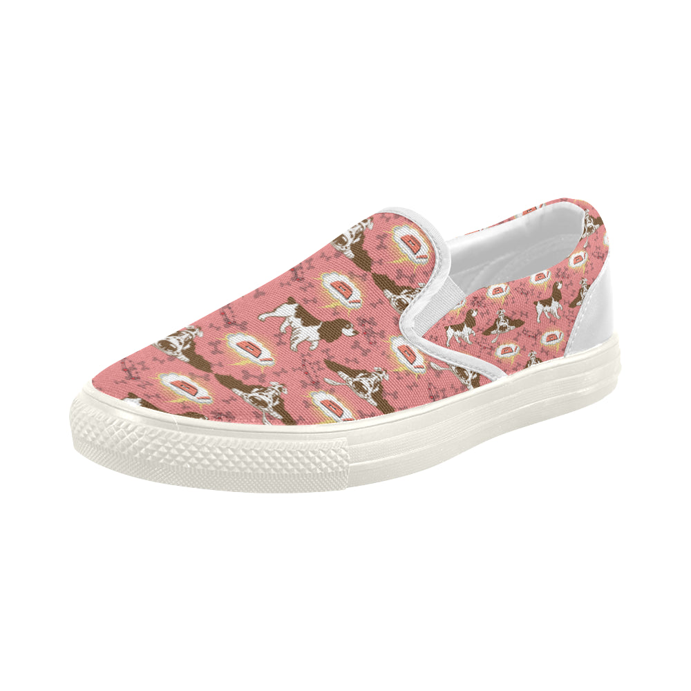 English Cocker Spaniel Pattern White Women's Slip-on Canvas Shoes - TeeAmazing