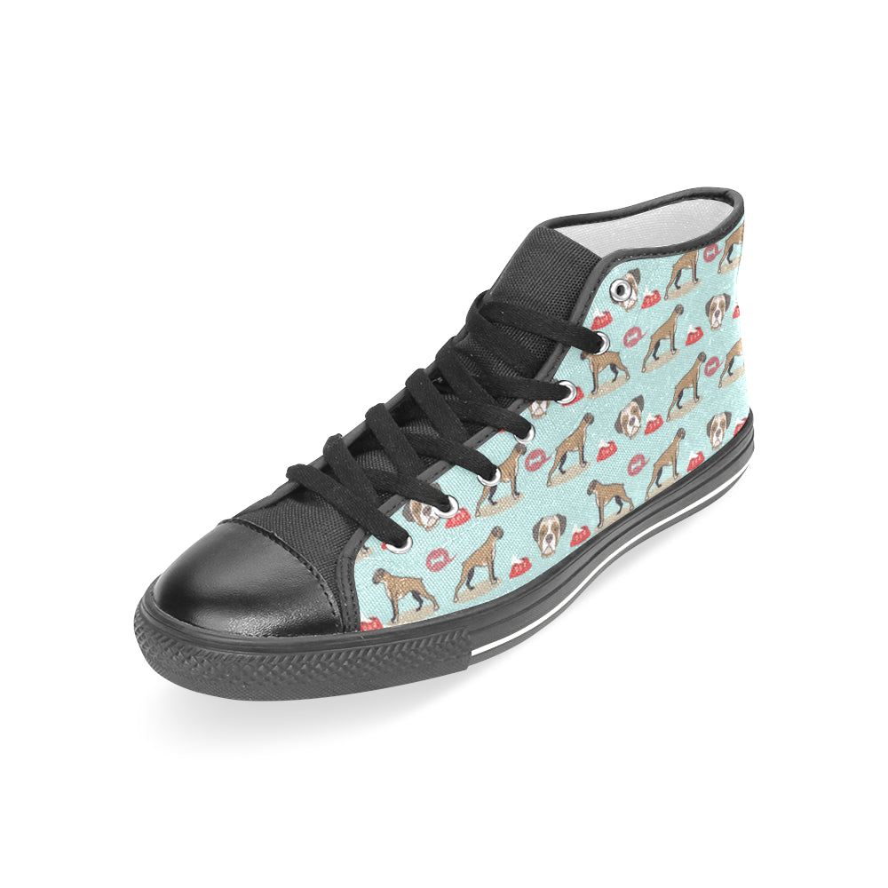Boxer Pattern Black Women's Classic High Top Canvas Shoes - TeeAmazing