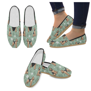 Airedale Terrier Flower Women's Casual Shoes (Model 004) - TeeAmazing