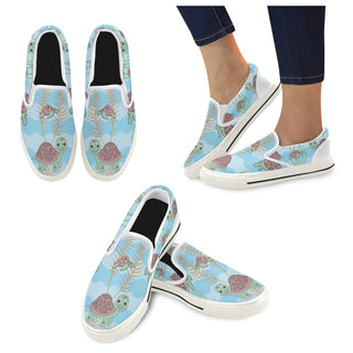 Turtle White Women's Slip-on Canvas Shoes/Large Size (Model 019) - TeeAmazing