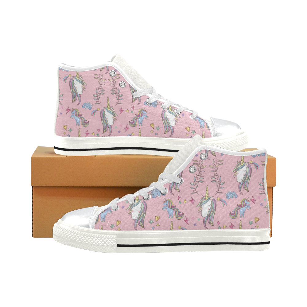 Unicorn Pattern V2 White High Top Canvas Women's Shoes/Large Size - TeeAmazing