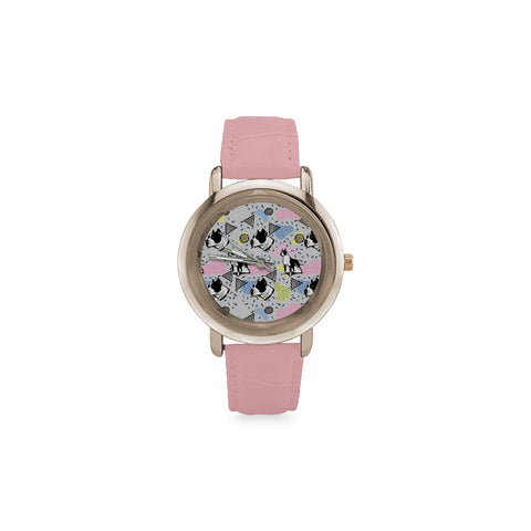 American Staffordshire Terrier Pattern Women's Rose Gold Leather Strap Watch(Model 201) - TeeAmazing