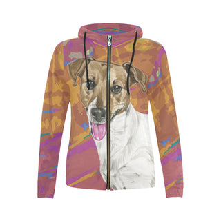 Jack Russell Terrier Water Colour No.1 All Over Print Full Zip Hoodie for Women - TeeAmazing