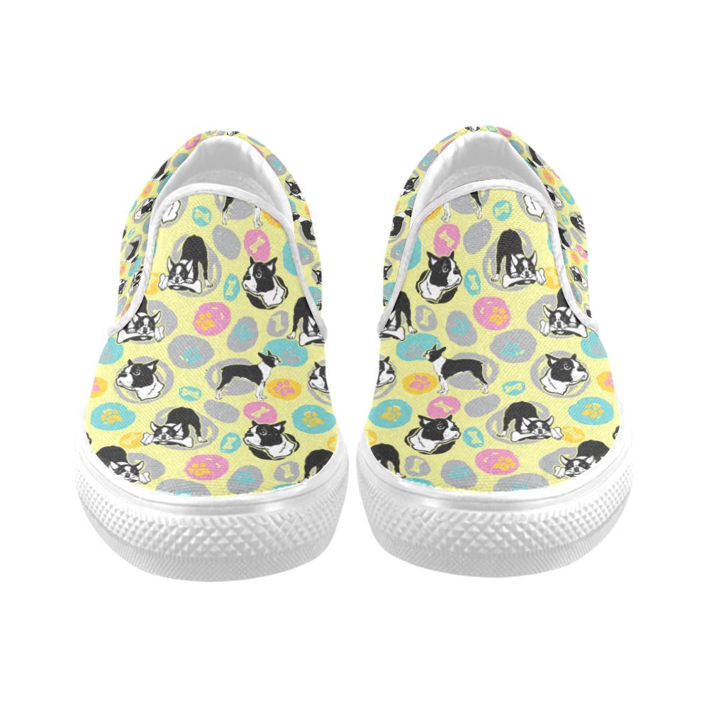 Boston Terrier Pattern White Women's Slip-on Canvas Shoes - TeeAmazing