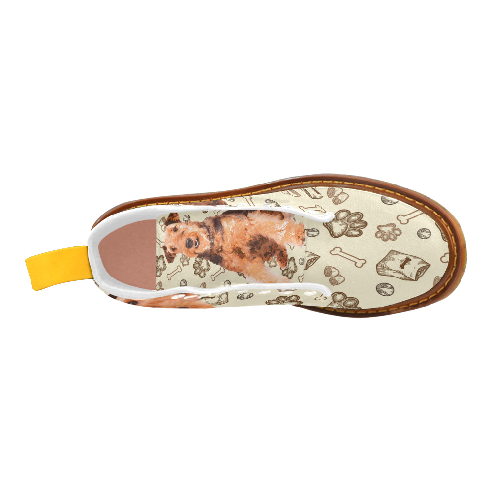 Airedale Terrier White Boots For Women - TeeAmazing