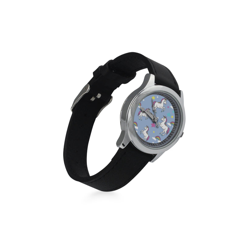 Unicorn Pattern Kid's Stainless Steel Leather Strap Watch - TeeAmazing