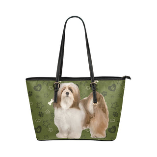 Lhasa Apso Dog Leather Tote Bag/Small - TeeAmazing