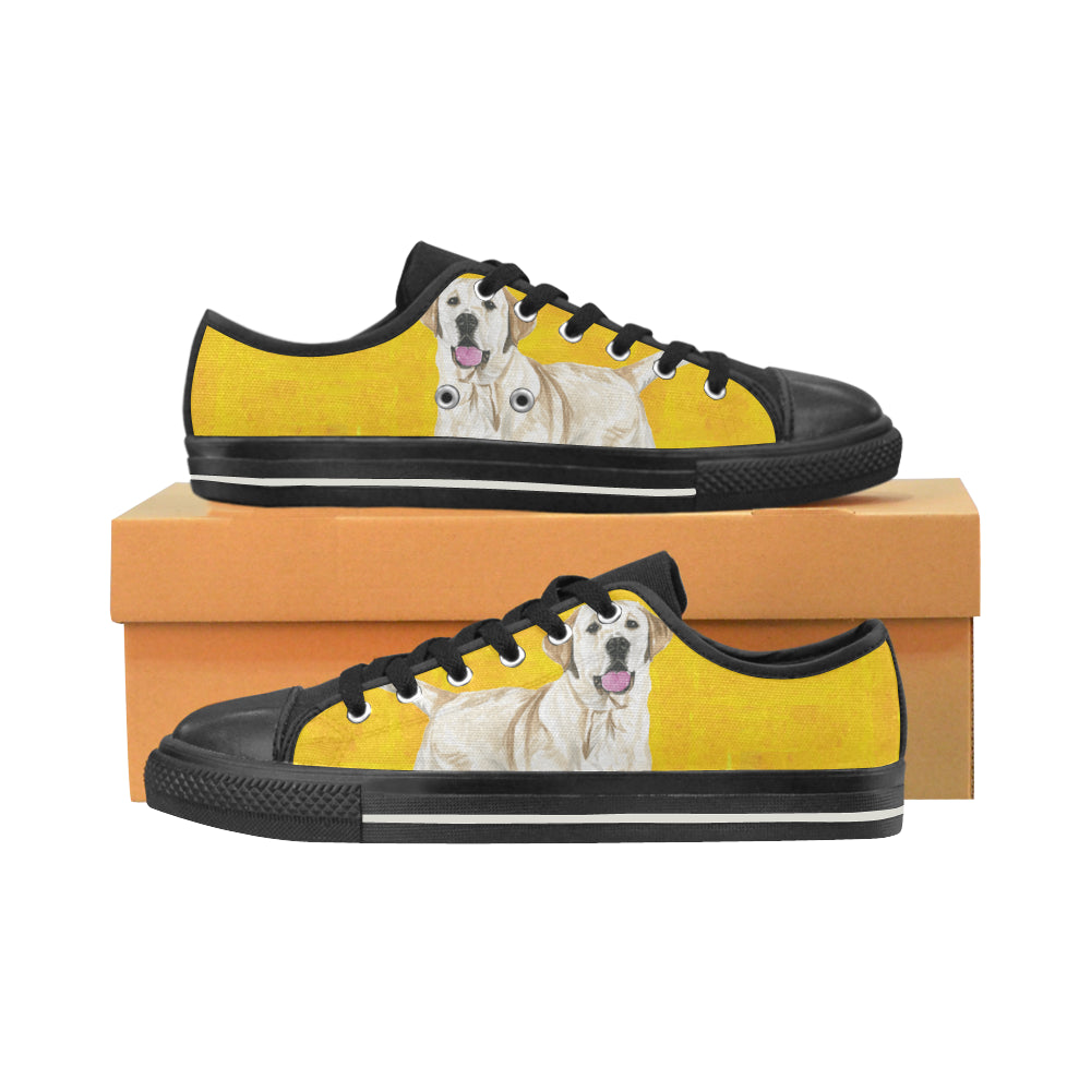 Labrador Retriever Water Colour No.1 Black Women's Classic Canvas Shoes - TeeAmazing