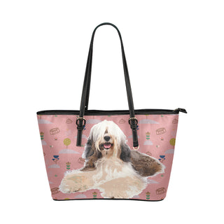 Tibetan Terrier Leather Tote Bag/Small (Model 1651) - TeeAmazing