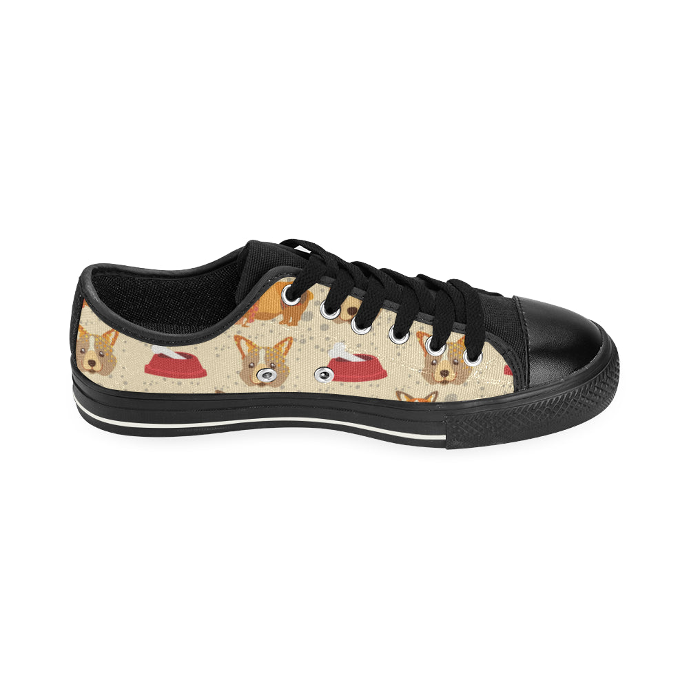 Corgi Pattern Black Men's Classic Canvas Shoes - TeeAmazing