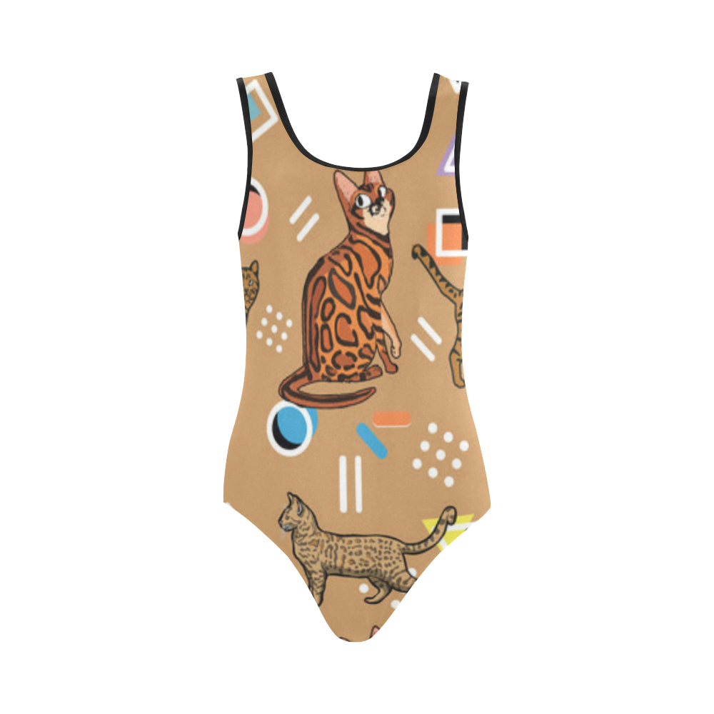 Bengal Cat Vest One Piece Swimsuit - TeeAmazing