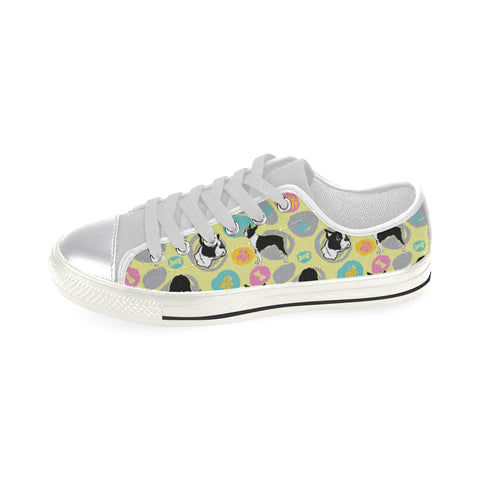 Boston Terrier Pattern White Women's Classic Canvas Shoes - TeeAmazing