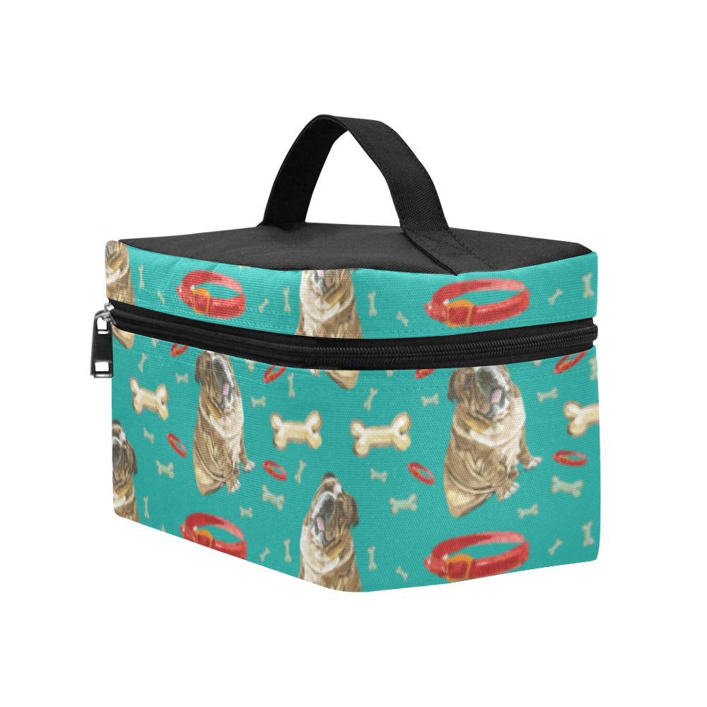 English Bulldog Water Colour Pattern No.2 Cosmetic Bag/Large - TeeAmazing