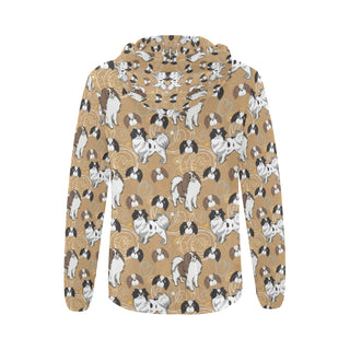 Japanese Chin All Over Print Full Zip Hoodie for Women - TeeAmazing