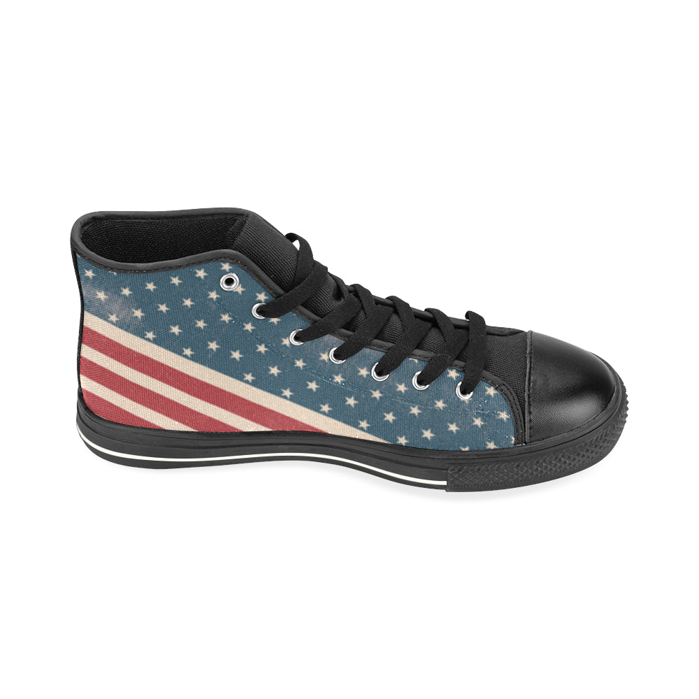 4th July V2 Black High Top Canvas Shoes for Kid - TeeAmazing