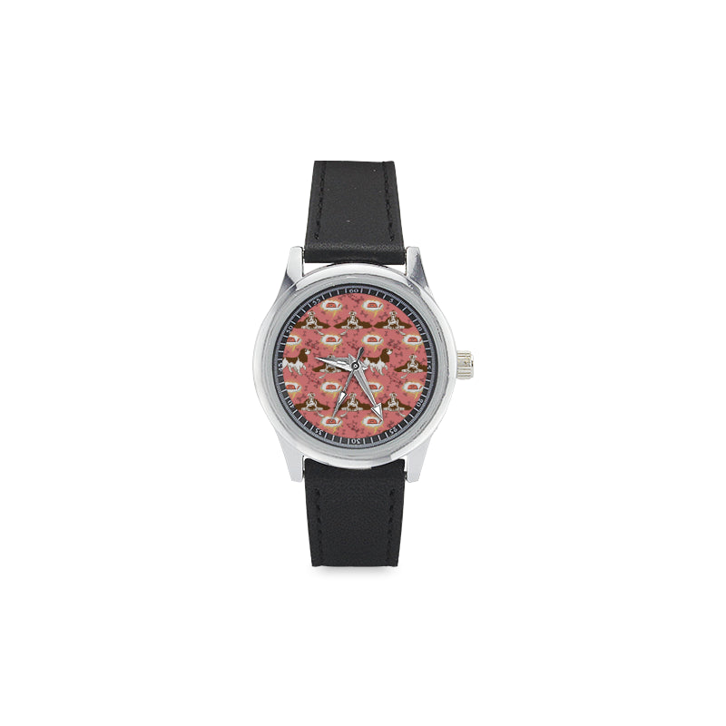 English Cocker Spaniel Pattern Kid's Stainless Steel Leather Strap Watch - TeeAmazing