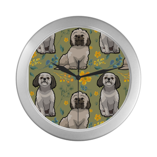 Shih Tzu Flower Silver Color Wall Clock - TeeAmazing