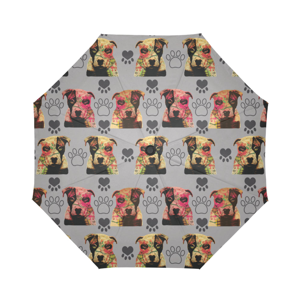Pit Bull Pop Art Pattern No.1 Auto-Foldable Umbrella - TeeAmazing