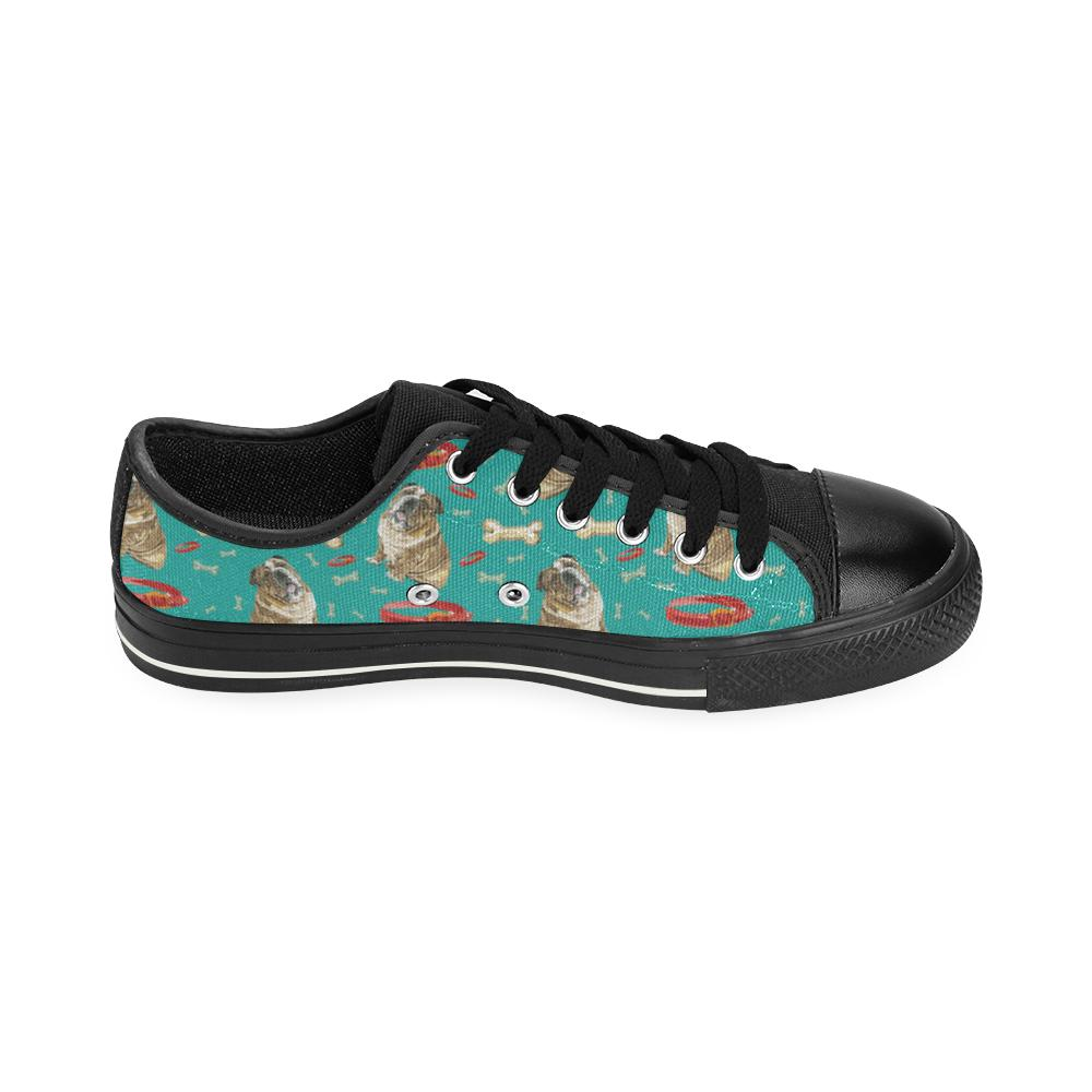 English Bulldog Water Colour Pattern No.1 Black Canvas Women's Shoes/Large Size - TeeAmazing