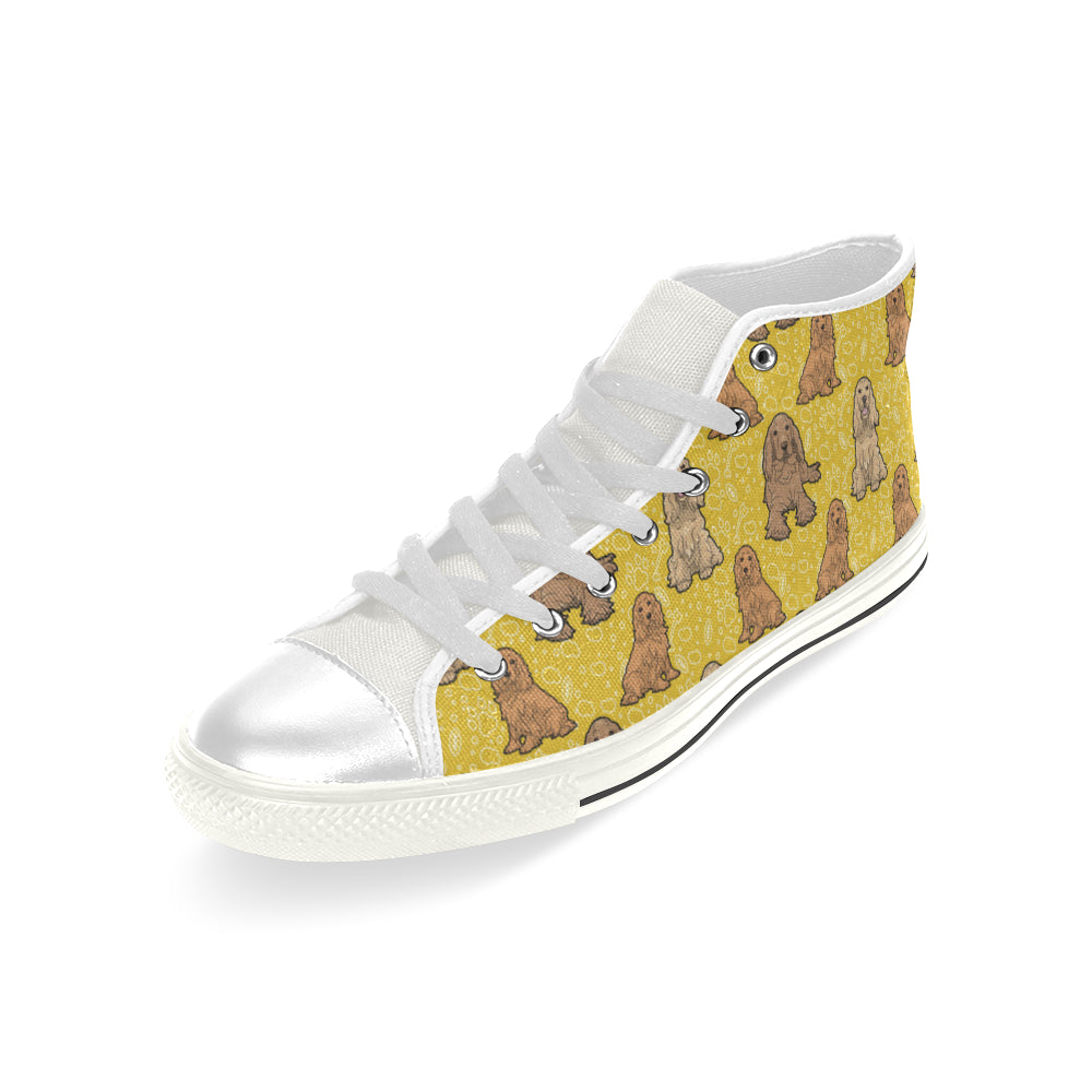 Cocker Spaniel White Men's Classic High Top Canvas Shoes - TeeAmazing